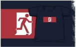 Running Man Fire Safety Exit Sign Emergency Evacuation Kids T-Shirt 43