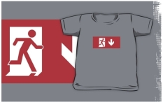 Running Man Fire Safety Exit Sign Emergency Evacuation Kids T-Shirt 44