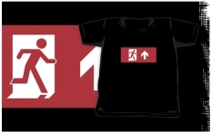 Running Man Fire Safety Exit Sign Emergency Evacuation Kids T-Shirt 45