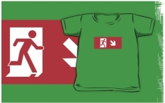 Running Man Fire Safety Exit Sign Emergency Evacuation Kids T-Shirt 46