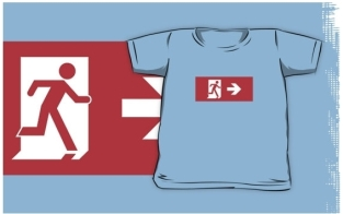 Running Man Fire Safety Exit Sign Emergency Evacuation Kids T-Shirt 48
