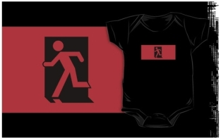 Running Man Fire Safety Exit Sign Emergency Evacuation Kids T-Shirt 49