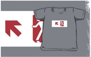 Running Man Fire Safety Exit Sign Emergency Evacuation Kids T-Shirt 5