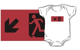 Running Man Fire Safety Exit Sign Emergency Evacuation Kids T-Shirt 51