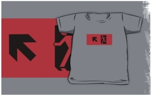 Running Man Fire Safety Exit Sign Emergency Evacuation Kids T-Shirt 53