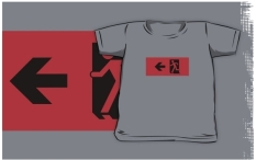 Running Man Fire Safety Exit Sign Emergency Evacuation Kids T-Shirt 54