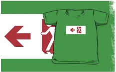 Running Man Fire Safety Exit Sign Emergency Evacuation Kids T-Shirt 6