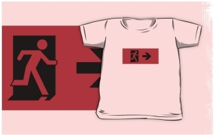 Running Man Fire Safety Exit Sign Emergency Evacuation Kids T-Shirt 62