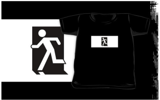 Running Man Fire Safety Exit Sign Emergency Evacuation Kids T-Shirt 65
