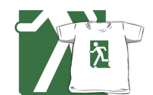 Running Man Fire Safety Exit Sign Emergency Evacuation Kids T-Shirt 71