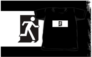 Running Man Fire Safety Exit Sign Emergency Evacuation Kids T-Shirt 73