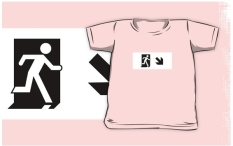 Running Man Fire Safety Exit Sign Emergency Evacuation Kids T-Shirt 76