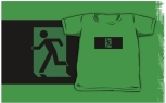 Running Man Fire Safety Exit Sign Emergency Evacuation Kids T-Shirt 80