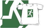 Running Man Fire Safety Exit Sign Emergency Evacuation Kids T-Shirt 84