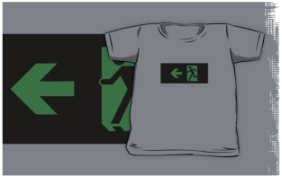 Running Man Fire Safety Exit Sign Emergency Evacuation Kids T-Shirt 87