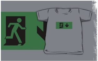 Running Man Fire Safety Exit Sign Emergency Evacuation Kids T-Shirt 9