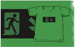 Running Man Fire Safety Exit Sign Emergency Evacuation Kids T-Shirt 91