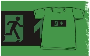Running Man Fire Safety Exit Sign Emergency Evacuation Kids T-Shirt 94