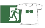 Running Man Fire Safety Exit Sign Emergency Evacuation Kids T-Shirt 96