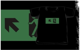 Running Man Fire Safety Exit Sign Emergency Evacuation Kids T-Shirt 97