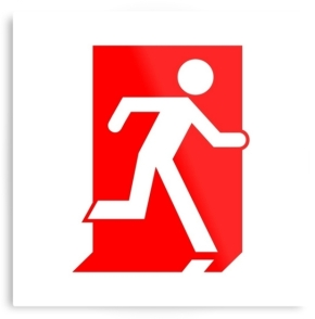 Running Man Fire Safety Exit Sign Emergency Evacuation Printed Metal 1