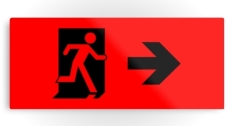 Running Man Fire Safety Exit Sign Emergency Evacuation Printed Metal 104