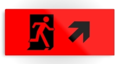 Running Man Fire Safety Exit Sign Emergency Evacuation Printed Metal 105
