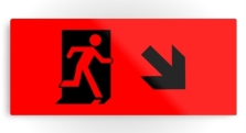 Running Man Fire Safety Exit Sign Emergency Evacuation Printed Metal 106