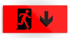 Running Man Fire Safety Exit Sign Emergency Evacuation Printed Metal 107