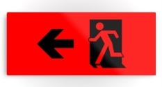 Running Man Fire Safety Exit Sign Emergency Evacuation Printed Metal 110
