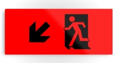 Running Man Fire Safety Exit Sign Emergency Evacuation Printed Metal 112
