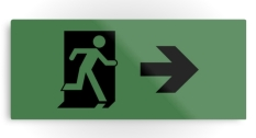 Running Man Fire Safety Exit Sign Emergency Evacuation Printed Metal 116