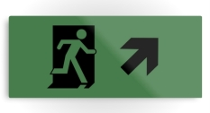 Running Man Fire Safety Exit Sign Emergency Evacuation Printed Metal 117