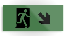 Running Man Fire Safety Exit Sign Emergency Evacuation Printed Metal 118