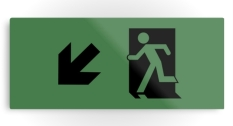 Running Man Fire Safety Exit Sign Emergency Evacuation Printed Metal 123