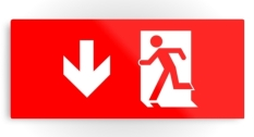 Running Man Fire Safety Exit Sign Emergency Evacuation Printed Metal 16