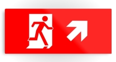 Running Man Fire Safety Exit Sign Emergency Evacuation Printed Metal 18
