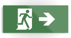 Running Man Fire Safety Exit Sign Emergency Evacuation Printed Metal 20