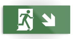 Running Man Fire Safety Exit Sign Emergency Evacuation Printed Metal 22