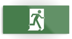 Running Man Fire Safety Exit Sign Emergency Evacuation Printed Metal 24