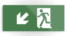 Running Man Fire Safety Exit Sign Emergency Evacuation Printed Metal 28