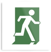 Running Man Fire Safety Exit Sign Emergency Evacuation Printed Metal 3