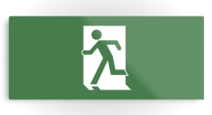 Running Man Fire Safety Exit Sign Emergency Evacuation Printed Metal 30