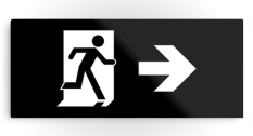 Running Man Fire Safety Exit Sign Emergency Evacuation Printed Metal 32