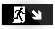 Running Man Fire Safety Exit Sign Emergency Evacuation Printed Metal 34
