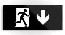Running Man Fire Safety Exit Sign Emergency Evacuation Printed Metal 35