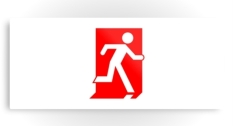 Running Man Fire Safety Exit Sign Emergency Evacuation Printed Metal 48