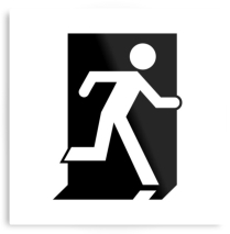 Running Man Fire Safety Exit Sign Emergency Evacuation Printed Metal 5