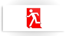 Running Man Fire Safety Exit Sign Emergency Evacuation Printed Metal 54