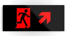 Running Man Fire Safety Exit Sign Emergency Evacuation Printed Metal 58